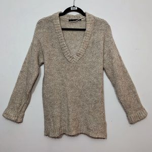 Zara Oatmeal V-Neck Long Sleeve Sweater